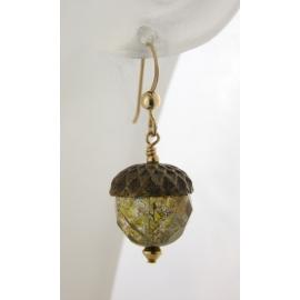 Handmade earrings with golden Czech glass acorn gold fill fall autumn