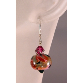 Handmade pink, olive, black, fuchsia earrings, lampwork, crystals and sterling