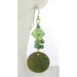 Handmade earrings aqua light green lampwork polymer chrysoprase gold filled