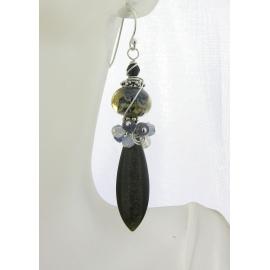 Handmade blue black gold earrings with golden obsidian lampwork iolite sterling