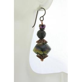Handmade purple brown ivory earrings, lampwork petrified wood copper