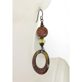 Artisan made red yellow black enamel on copper earrings onyx jasper niobium