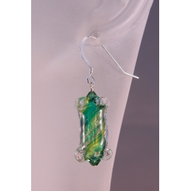 Artisan green short earrings with artisan furnace glass, Swarovski, sterling