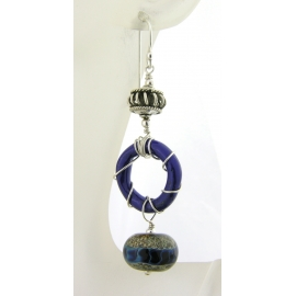 Handmade blue enamel ring earrings with blue silver lampwork glass, sterling