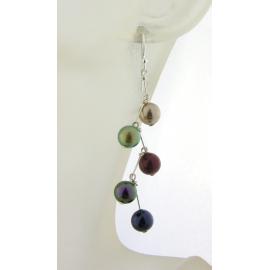 Pearl Stairway Earrings multicolor red purple green gold sterling kinetic