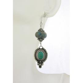 Handmade turquoise green beige earrings dots lampwork beach sterling