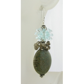 Handmade earrings with aqua spiky urchin lampwork glass, smoky quartz, sterling