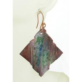 Artisan made organic enamel on fold formed green blue white copper earrings