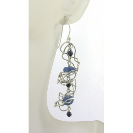 Artisan made argentium sterling mesh spiral earrings with kyanite blue sapphires