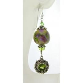 Artisan made purple green earrings with handmade lampwork glass peridot sterling