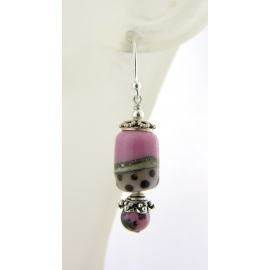 Handmade pink, ivory, black dot lampwork, rhodonite gemstone, sterling