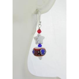 Handmade red white blue earrings pearl star patriotic july4 sterling silver