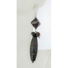 Handmade red black, hematite tiger iron gemstone earrings, lampwork and sterling