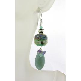 Handmade aqua purple earrings lampwork aquamarine amethyst iolite sterling