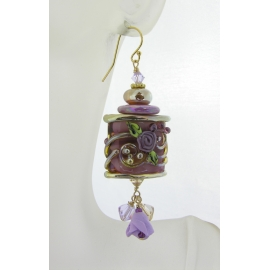 Handmade earrings with purple roses, gold lampwork, polymer rose and gold fill