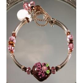 Handmade bracelet pink brown artisan lampwork heart sterling silver
