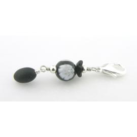 Artisan made black and white stitch marker Venetian bead black jade silver