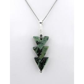 Handmade necklace with carved kambaba jasper Swarovski crystals sterling silver