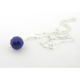 Artisan faceted blue lapis layer necklace sterling silver petals