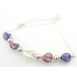 Artisan made sterling silver necklace purple venetian beads freshwater pearls