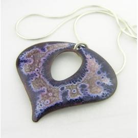 Artisan made blue, white, pink crackle enamel on copper necklace sterling