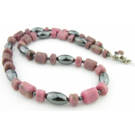 Handmade necklace metallic hematite, pink, black rhodonite gemstones sterling