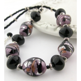 Handmade necklace earrings set with black purple Venetian bead onyx  sterling