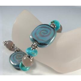 Handmade bracelet grey agate gemstone turquoise kazuri ceramic sterling silver