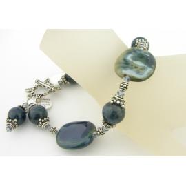 Handmade bracelet teal apatite gemstones kazuri ceramic sterling silver