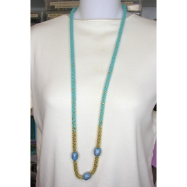 Kumihimo weave necklace in turquoise and gold kazuri ceramic magnetic clasp