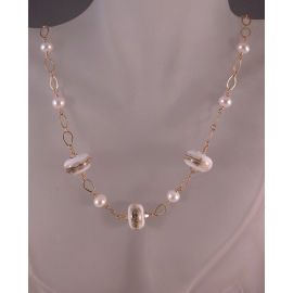 Handmade necklace with artisan lampwork pearls and gold fill chain, clasp, wire