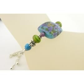 Handmade bracelet lime green turquoise blue purple lampwork crystal sterling