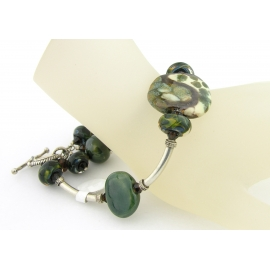 Handmade green and brown bracelet artisan lampwork Kazuri beads sterling silver