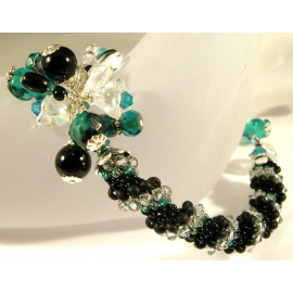 Handmade woven bracelet in black clear teal sterling silver twist crystal onyx