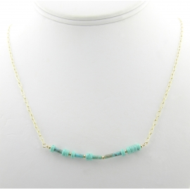 Artisan made gold fill laugh morse code necklace with turquoise