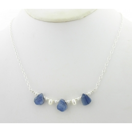 Artisan made sterling silver necklace blue kyanite rough white freshwater pearls