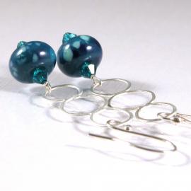 3 Ring Peacock Earrings - blue teal lampwork sterling silver circles