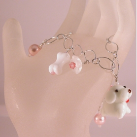 Handmade dog charm bracelet in white pink sterling silver crystal glass pearl