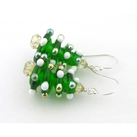 Handmade Christmas tree earrings with lampwork Swarovski crystals sterling