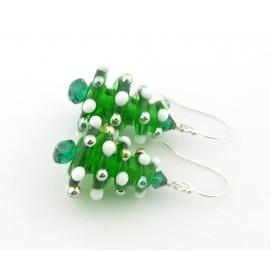 Handmade Christmas tree earrings with lampwork Swarovski crystals sterling