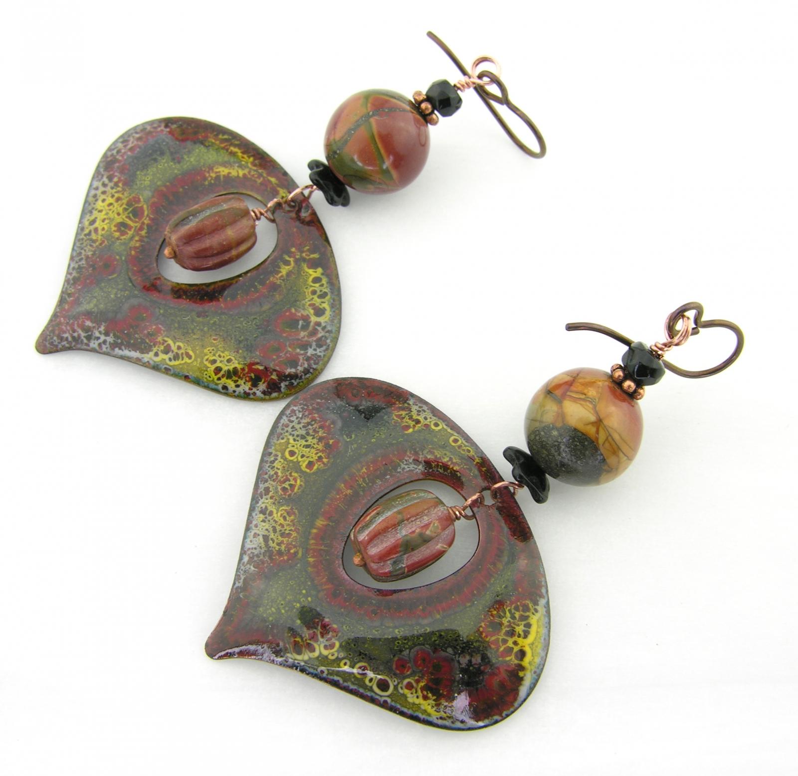 Red Tipped Spikes Earrings - handmade hollow artisan lampwork sterling silver red teal sonoran jasper garnet gemstone srajd cserpentDesigns january birthstone