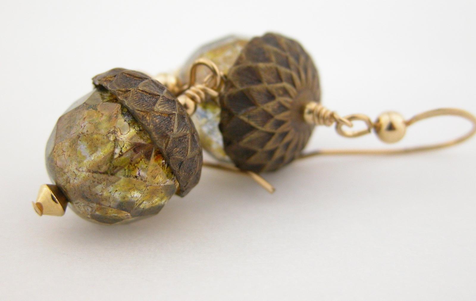Czech glass and copper Autumn oak tree pendant