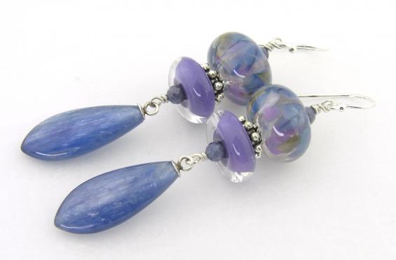 Field of Lavendar and Blue Earrings - handmade artisan lampwork sterling silver kyanite gemstone sapphire light blue lavender dangle srajd cserpentDesigns