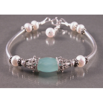 Aqua Chalcedony Pearl Bangle