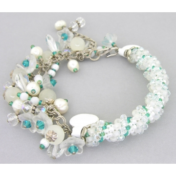 White and Teal Twist Bracelet - handmade artisan woven beadweave spiral white quartz pearls Czech glass Swarovski crystals sterling silver srajd cserpentDesigns