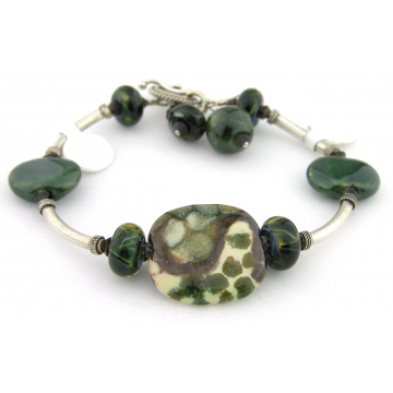 Deep In The Forest Bracelet - dark green artisan lampwork, sterling silver, ivory, brown, Kazuri ceramic, srajd, cserpentDesigns