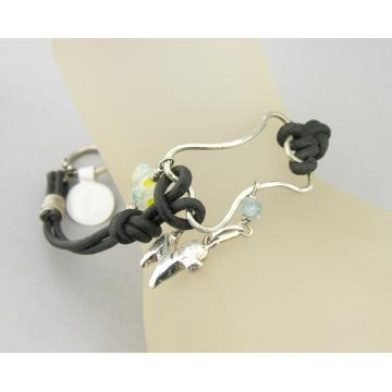 Wire Dog Bone and Leather Bracelet - handmade artisan black leather heart aquamarine sterling silver srajd cserpentDesigns