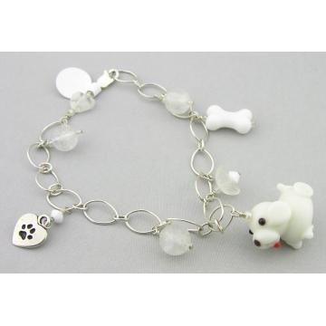 White Dog and Quartz Charm Bracelet - handmade artisan white dog bone glass flower heart Swarovski crystals quartz sterling silver srajd cserpentDesigns