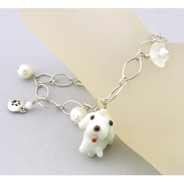 White Dog and Pearls Charm Bracelet - handmade artisan white dog bone glass flower heart Swarovski crystals sterling silver srajd cserpentDesigns