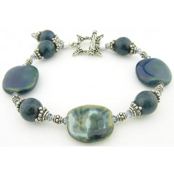 Apatite Dots Bracelet - apatite gemstone kazuri ceramic sterling silver handmade denim blue tan teal srajd cserpentDesigns